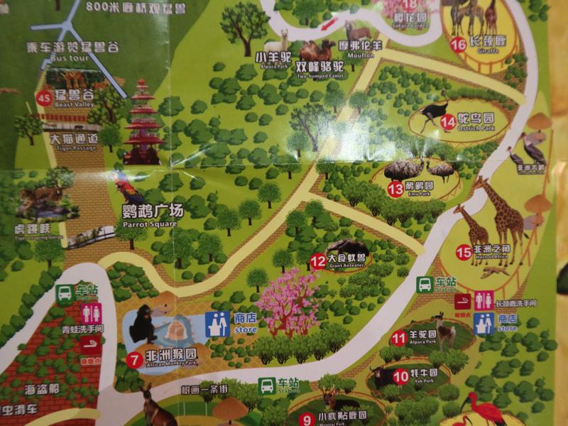 深セン野生動物園園内マップ(キリン周辺)