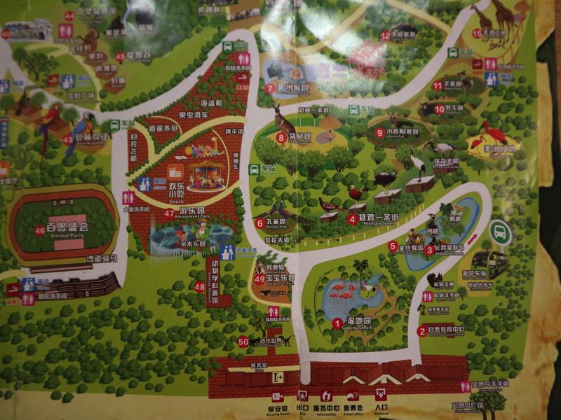 深セン野生動物園園内マップ(入り口付近)